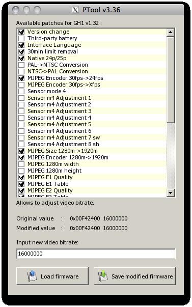 pour aller modifier le firmware du GH1